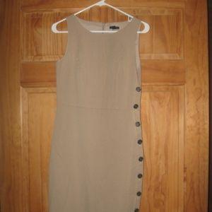 Womens Ann Taylor Beige Side Button Dress